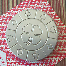 4 Leaf Clover Stainless Steel Round Poker Card Protector Card Guard Paper Weight