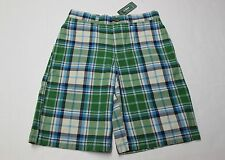 LL BEAN Boys GREEN & BLUE PLAID Adjustable 100% COTTON CHINO SHORTS NWT Size 4