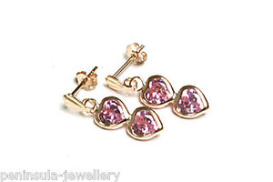 9ct Gold Pink CZ Drop Earrings Double Heart Gift Boxed Made in UK