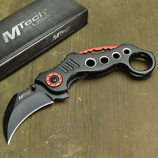 "MTECH 7 3/8"" Tactical Combat Karambit Claw Folding Pocket Knife Red/Black New!"