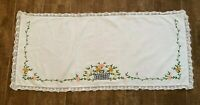 """Flower Basket Vintage dresser scarf embroidered runner 16 x 35"""" table floral"""