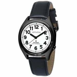 Verbalise Talking Watch with Black Leather Strap VBK92-LBK