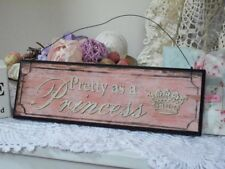 Girls Bedroom Wall Door Plaque Sign PInk Wood 'Pretty As A Princess' Chic Shabby