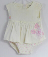 CARTER'S Size 3 Months Girls Yellow Floral Body Double Bodysuit