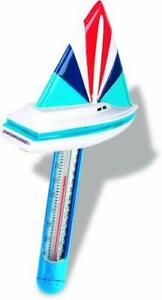 HydroTools by Swimline Soft Top Boat Floating Pool Thermometer and Cord