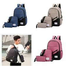 3PCS Men Women Boys Girls Backpack School Shoulder Bag Bookbags Canvas Travel