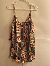 H&M Conscious Southwest Print Romper Side Zip Cut-out Back Pockets Size 8
