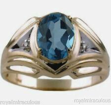 Mens Gold Ring Diamond Blue Topaz 14K Yellow  Gold