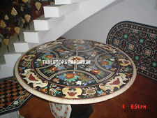 "60"" Black Marble Dining Table Top Handmade PietraDura Inlay Christmas Gift Decor"