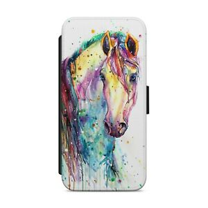 Painted Horse Colourful WALLET FLIP PHONE CASE COVER                         180