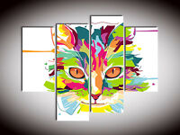 4 Parts Abstract Art Painting Canvas Wall Pictures Decor Colorful Cat Unframed J