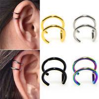 Men Women Fake Nose Lips U Ring Ears Clip Hoop Earrings Unisex No Piercing TB