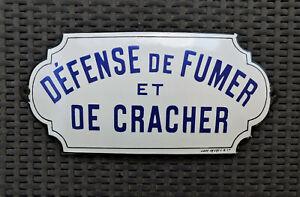 PLAQUE EMAILLEE BOMBEE signée JAPY Fréres années 30 DEFENSE de FUMER et CRA
