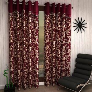 2 Piece Maroon Eyelet Ringtop Door Window Curtains Set 5 7 9 Feet w Scroll Frill