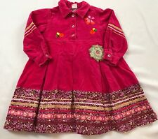 OILILY APPLIQUE EMBROIDERY PINK COTTON CRUSHED VELVET FLORAL DRESS 110 (5 YEARS)