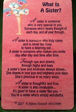 WHAT IS A SISTER Wallet Card Keepsake Thinking Day Poem Gift free uk pp