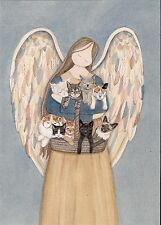 Standing angel holds cats (persian, siamese, tuxedo, black, white) / Lynch print