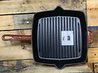 """Staub France 12"""" Red Square Skillet Grill Fry Pan Cast Iron Enamel"""