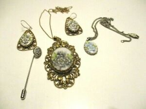 5 PcsHand Painted White Porcelain & Gold Tone Jewelry  Pendant Earring Chain J22