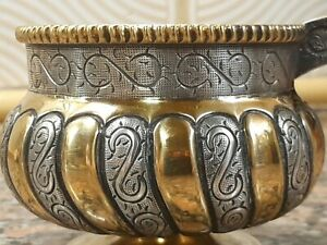 Very fine Sterling silver and gilt russian style kovsh handled bowl Mexico Tane