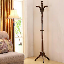 Vintage Premium Wood Coat Rack Stand Hall Tree Free Standing for Clothes Hat Bag