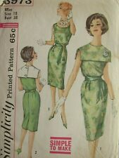 VTG 60s SIMPLICITY 3973 MS Dress w Detachable Collar & Tie Belt PATTERN 18/38B