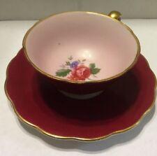 Royal Bayreuth Fine  Bone China Germany Red Eggshell Roses Pattern