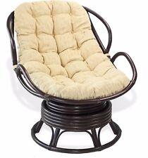 Swivel Rocking Chelsea Handmade Rattan Chair Cream Cushions. Color Dark Brown
