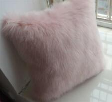 PINK Faux Sheepskin Fur Cushion Cover Pillowcases Soft Sofa Home Decor 18''X18''
