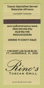 Matchbook Cover - Rino's Tuscan Grill Fort Lauderdale FL 30 Strike