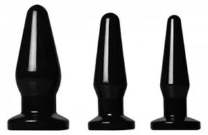 Trinity Vibes Black Anal Sex Toy Butt Plug Trainer Kit Ass Beginners | Set of 3