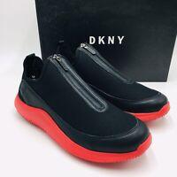 DKNY Men's Seb Leather Zipper Slip-On Sneakers Black/Red, MSRP $110 size 10