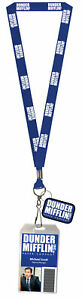 The Office Dunder Mifflin Costume Lanyard Dwight or Michael Clear ID Badge