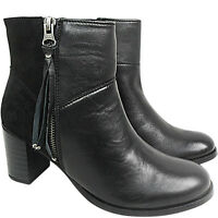 WIDE E Ladies Women Mid Block Heel REAL LEATHER Zip Ankle Boot Shoe Size Comfort
