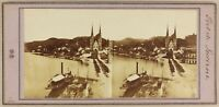 Suizo Lucerna Luzern Foto Léon Jouvin Aprox 1858 Estéreo Vintage Albúmina