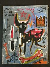 JEAN-MICHEL BASQUIAT  OIL PAINTING SIGNED ON ORIGINAL RIGID CARDBOARD OF THE 80s