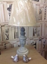 shabby chic french country style mushroom grey distressed table lamp with shade