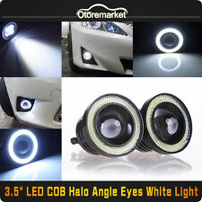 2PCS 3.5 COB LED Fog Light Projector Car White Angel Eyes Halo Ring DRL Lamps US