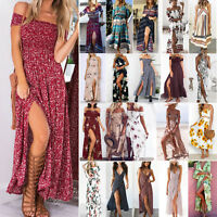 Women's Maxi Boho Dress Floral Summer Beach Cocktail Evening Party Long Sundress