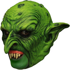 GREEN EVIL GOBLIN CHINLESS HEAD MASK WITH CHINSTRAP LATEX HORROR HALLOWEEN