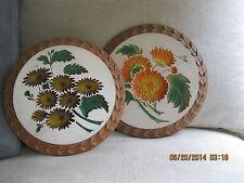 "Set of 2 Vintage Plaster / Chalkware 9"" Flower Plaques, 2-D"
