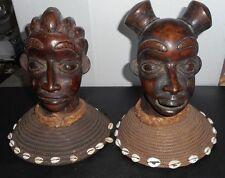 AFRICAN circa 1900 CAMEROON KING & QUEEN Tikar Tribe Bronze Busts Raffia Collar