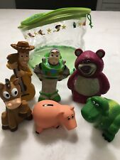 DISNEY TOY STORY BATH Toys WOODY, LOTSO, HAMM, BUZZ, BULLSEYE & REX 4-5 inches