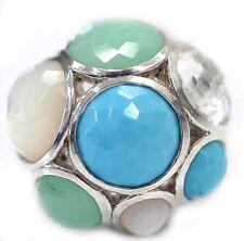 New IPPOLITA Multi Stone Turquoise Quartz Dome Sterling Silver Ring 7.25