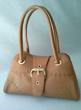 DESMO Satchel Purse Caramel Gold-tone Hardware Stitch Details Made In Italy CHIC