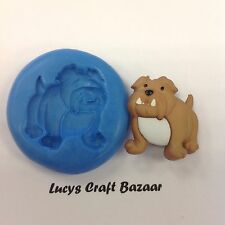 Silicone Mould British Bull Dog Sugar craft Cupcake Topper Chocolate Fimo Icing