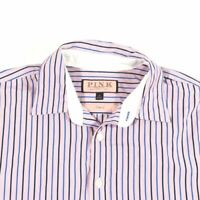 Thomas Pink Striped Long Sleeve French Cuff Casual Shirt Medium