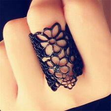 Vintage Gothic Hollow Floral Flower Black Open Ring Elegant Jewelry Gift☆