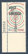 1329 Voice Of America Single W/Plate Number Mint/nh (Free shipping offer)