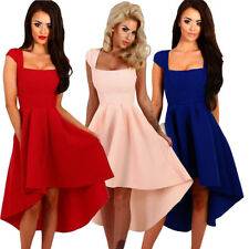 Sexy Cap Sleeve Swing High Low Slim Skater Formal Prom Evening Club Party Dress